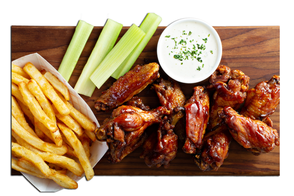 Plate of chicken and fries with dipping sauce
